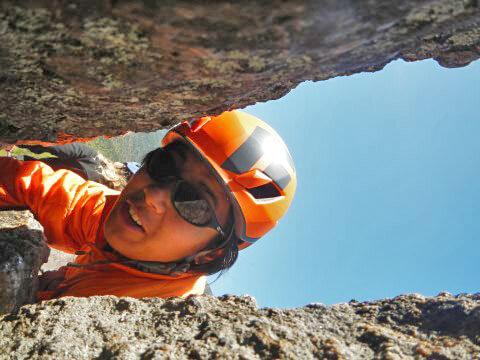 AJ rock climbing